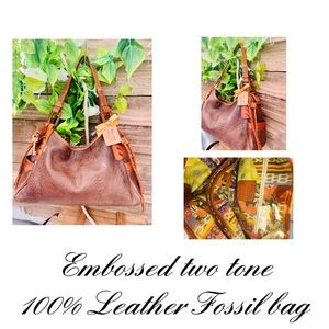 Incredible 2 toned X-soft  100% leather Fossil Bag